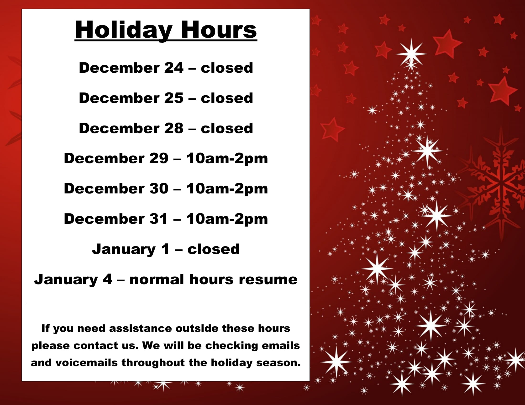 Holiday Hours - Image 1